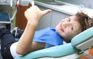 A child at his dental appointment.