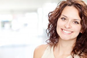 woman perfect smile brown hair